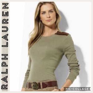 Ralph Lauren • Green • Suede Patch Elbow Shirt • M